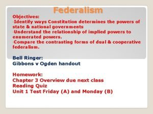 Federalism Objectives Identify ways Constitution determines the powers