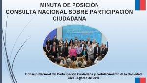 MINUTA DE POSICIN CONSULTA NACIONAL SOBRE PARTICIPACIN CIUDADANA