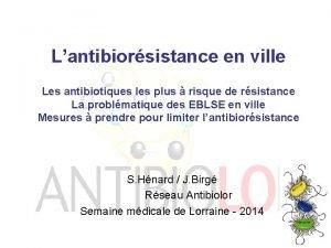 Lantibiorsistance en ville Les antibiotiques les plus risque