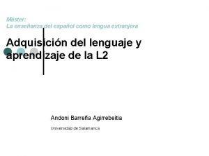 Mster La enseanza del espaol como lengua extranjera