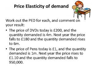 Price Elasticity of demand Work out the PED