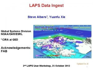LAPS Data Ingest Steve Albers 1 Yuanfu Xie