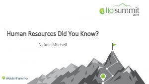 Human Resources Did You Know Nickole Mitchell Did