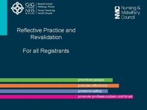 Reflective Practice and Revalidation For all Registrants What