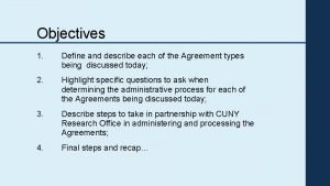 Objectives 1 Define and describe each of the