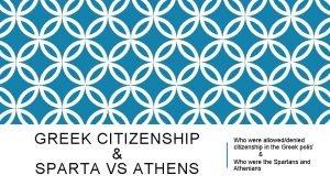 GREEK CITIZENSHIP SPARTA VS ATHENS Who were alloweddenied