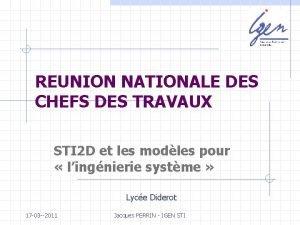 REUNION NATIONALE DES CHEFS DES TRAVAUX STI 2