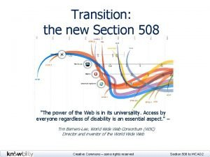 Transition the new Section 508 Diagram of evolving