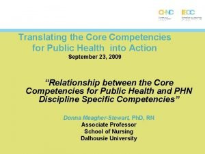 Translating the Core Competencies for Public Health into