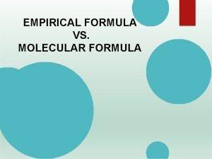 EMPIRICAL FORMULA VS MOLECULAR FORMULA EMPIRICAL FORMULA VS