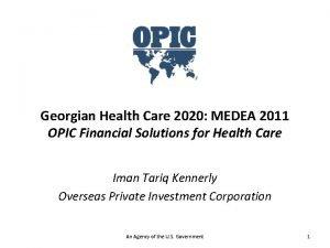 Georgian Health Care 2020 MEDEA 2011 OPIC Financial