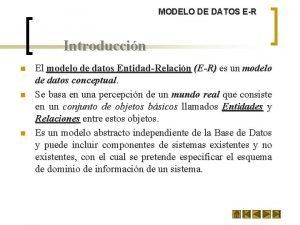 MODELO DE DATOS ER Introduccin n El modelo