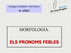 Llengua catalana i literatura 4 t dESO MORFOLOGIA