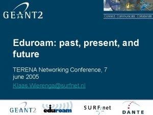 Connect Communicate Collaborate Eduroam past present and future
