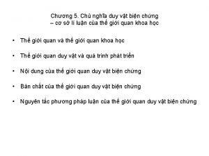 Chng 5 Ch ngha duy vt bin chng