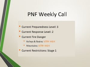 PNF Weekly Call Current Preparedness Level 3 Current