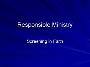 Responsible Ministry Screening in Faith Responsible Ministry Key