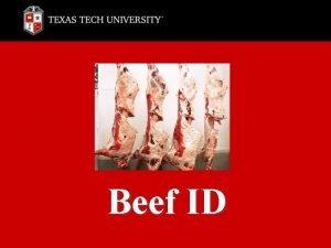 Beef ID Beef ID Chuck Rib Loin Round