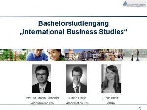 Bachelorstudiengang International Business Studies Prof Dr Martin Schneider