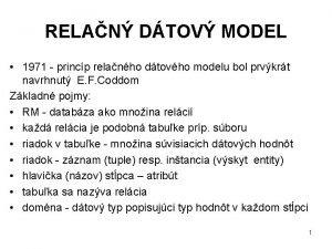 RELAN DTOV MODEL 1971 princp relanho dtovho modelu