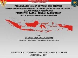 KEMENTERIAN DALAM NEGERI REPUBLIK INDONESIA PERMENDAGRI NOMOR 96