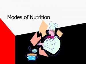 Modes of Nutrition Nutrition Processes by which organisms
