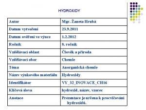 HYDROXIDY Autor Mgr aneta Hrub Datum vytvoen 23