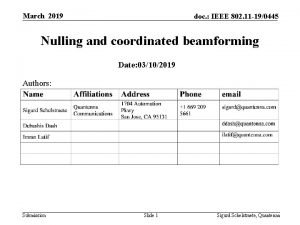 March 2019 doc IEEE 802 11 190445 Nulling