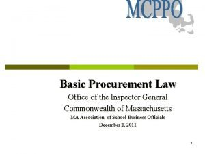 Basic Procurement Law Office of the Inspector General
