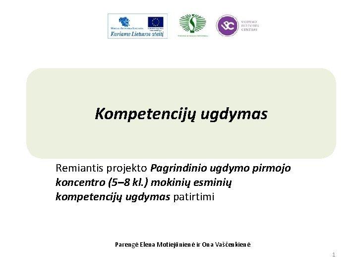 Kompetencij ugdymas Remiantis projekto Pagrindinio ugdymo pirmojo koncentro