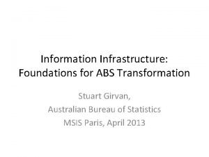 Information Infrastructure Foundations for ABS Transformation Stuart Girvan
