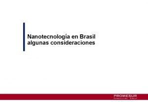 Nanotecnologa en Brasil algunas consideraciones Contenido 4 Captulo