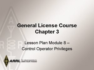 General License Course Chapter 3 Lesson Plan Module