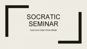 SOCRATIC SEMINAR Inner and Outer Circle Model Standard
