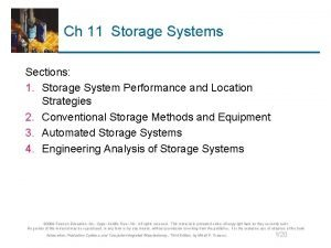Ch 11 Storage Systems Sections 1 Storage System