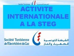 ACTIVITE INTERNATIONALE A LA STEG Activit Internationale l