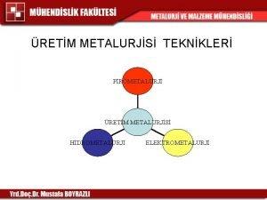 RETM METALURJS TEKNKLER PROMETALURJ RETM METALURJS HDROMETALURJ ELEKTROMETALURJ