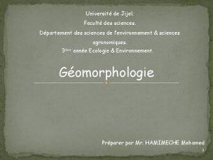 Universit de Jijel Facult des sciences Dpartement des