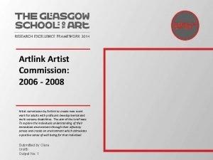 Artlink Artist Commission 2006 2008 Artist commission by