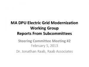 MA DPU Electric Grid Modernization Working Group Reports