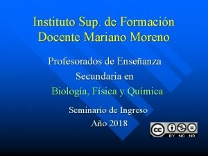 Instituto Sup de Formacin Docente Mariano Moreno Profesorados