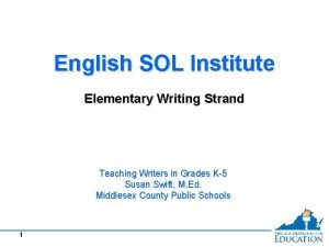 English SOL Institute Elementary Writing Strand Teaching Writers