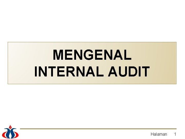MENGENAL INTERNAL AUDIT Halaman 1 DEFINISI Internal audit