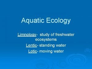 Aquatic Ecology Limnology study of freshwater ecosystems Lentic