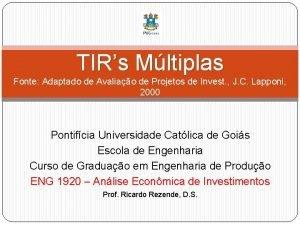 TIRs Mltiplas Fonte Adaptado de Avaliao de Projetos