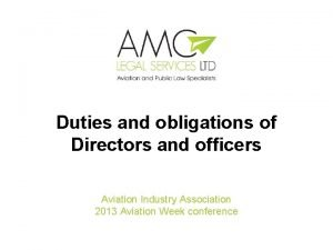Duties and obligations of Directors and officers Aviation