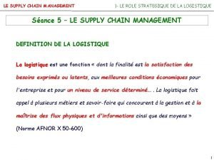 LE SUPPLY CHAIN MANAGEMENT 1 LE ROLE STRATEGIQUE