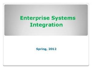 Enterprise Systems Integration Spring 2012 Enterprise Operations Planning