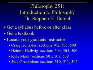 Philosophy 251 Introduction to Philosophy Dr Stephen H