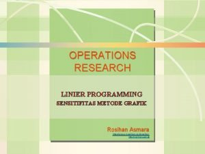 6 s1 Analisis Sensitivitas Operations Management OPERATIONS RESEARCH